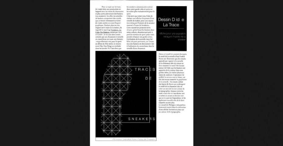 """DESSIN D'IDÉE """"LA TRACE"""" - BTS DESIGN GRAPHIQUE 1ÈRE ANNÉE, PROMOTION 2015"""